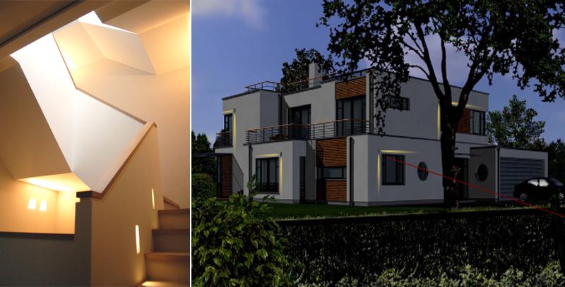 Lichtplanung Treppenhaus + Fassade